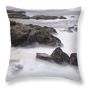 Storm Waves And Cliffs Throw Pillow
