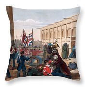 Storming Of Khelat, The Troops Entering Throw Pillow