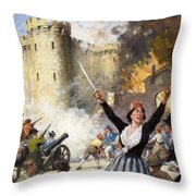 Storming The Bastille Throw Pillow