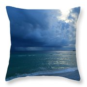 Storms Brewing Off Navarre Beach At Dawn Throw Pillow