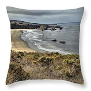 Storms Over An Unspoiled Beach Throw Pillow