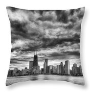 Storms Over Chicago Throw Pillow