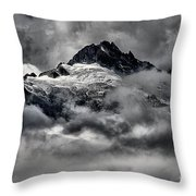 Storms Over Glaciers And Rugged Peaks Throw Pillow
