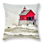 Stormy At Grand Haven Light Throw Pillow
