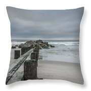 Stormy Beach Forcast Throw Pillow