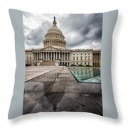 Stormy Capitol Day I Throw Pillow