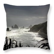 Stormy Coast New Zealand Throw Pillow