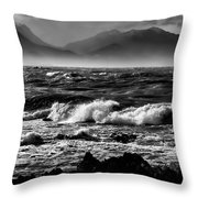 Stormy Coast New Zealand In Black And White Throw Pillow