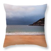 Stormy Day On The Beach Throw Pillow