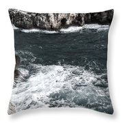 Mediterranean Sea And Rocks Sculpted By Wind And Salt In South Of Menorca Throw Pillow