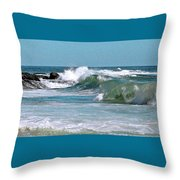 Stormy Lagune - Blue Seascape Throw Pillow