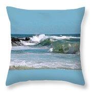 Stormy Lagune - Blue Seascape Throw Pillow