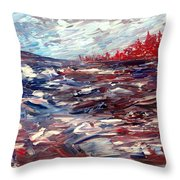 Stormy Lake Abstract Throw Pillow