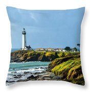 Stormy Lighthouse Throw Pillow