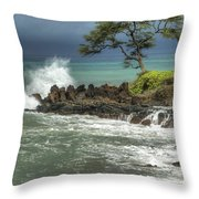 Stormy Maui Morning Throw Pillow
