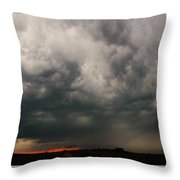 Stormy Nebraska Sunset Throw Pillow