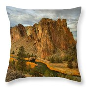 Stormy Over Smith Rock Throw Pillow