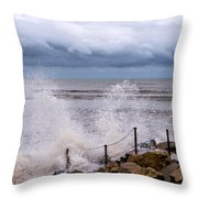 Stormy Seafront  Throw Pillow