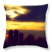 Stormy Silhouette Sunset Throw Pillow