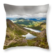 Stormy Skies Over Snowdonia Throw Pillow by Jane Rix