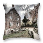 Stormy Skies Over The 1823 Grist Mill Throw Pillow