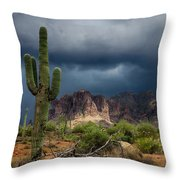 Stormy Skies Over The Superstitions Throw Pillow