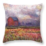 Stormy Sunflower Farm Throw Pillow