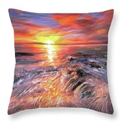 Stormy Sunset At Water's Edge Throw Pillow
