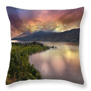 Stormy Sunset Over Columbia River Gorge At Hood River Throw Pillow