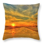 Stormy Sunset Over Santa Ana River Throw Pillow
