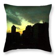 Stormy Sunset - New York City Skyline Throw Pillow