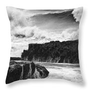 Stormy Surf Throw Pillow