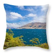 Stormy Surface Of Lake Wanaka In Central Otago On South Island Of New Zealand Throw Pillow