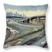 Stormy Train Tracks And San Francisco  Throw Pillow