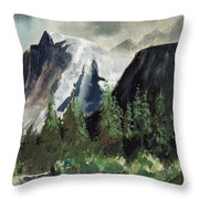 Stormy Waterfall Throw Pillow