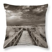 Stormy Weather At The Lake Vintage Throw Pillow