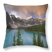 Stormy Weather Over Moraine Lake Throw Pillow