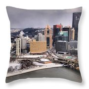 Stormy Winter Skies Over The Point Throw Pillow