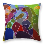 Story Told By Green Cat. Throw Pillow