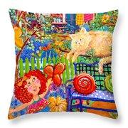 Storybook Girl And Cat Throw Pillow