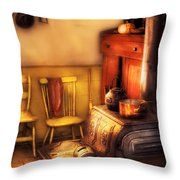 Stove - An Old Farm Kitchen Throw Pillow