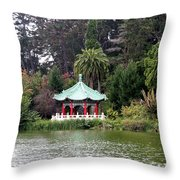 Stow Lake Chinese Pavilion Throw Pillow