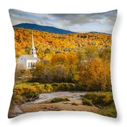 Stowe Church At Sunset Throw Pillow
