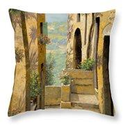 stradina a St Paul de Vence Throw Pillow by Guido Borelli