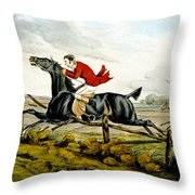 Straight Through The Fence From Qualified Horses And Unqualified Riders Throw Pillow