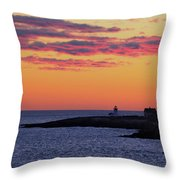 Straitsmouth Lighthouse Sunrise Throw Pillow