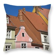 Stralsund Roofs. Throw Pillow by David Davies