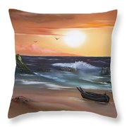 Stranded At Sunset Throw Pillow by Cynthia Adams