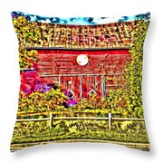 Strange Day At The Barn Throw Pillow