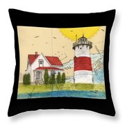 Stratford Pt Lighthouse Ct Nautical Chart Map Art Throw Pillow